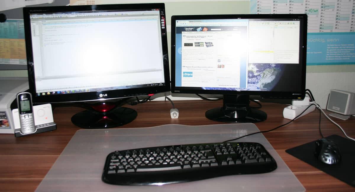 2 monitore an einem pc anschlie en. Black Bedroom Furniture Sets. Home Design Ideas
