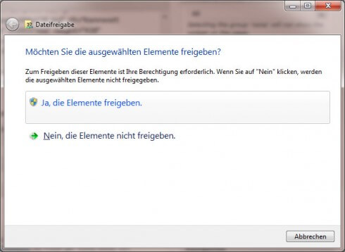 Dateifreigabe Windows 7