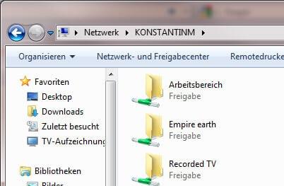 Netzwerk Freigaben