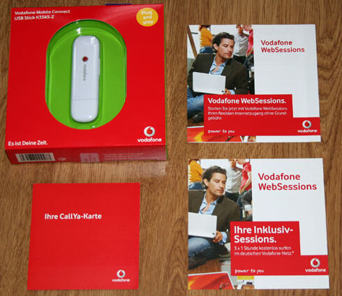 Vodafone Websessions Lieferumfang