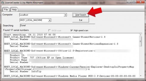 License Crawler - So lesen Sie Windows 7 Seriennummern aus