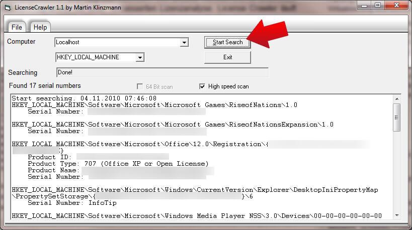 windows 7 seriennummern auslesen lizenzschl ssel finden mit license crawler. Black Bedroom Furniture Sets. Home Design Ideas