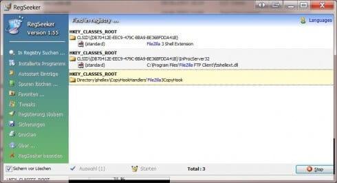 RegSeeker Suche nach Filezilla
