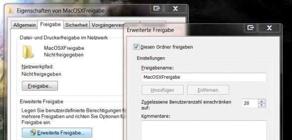 Erweiterte Freigabe unter Windows 7