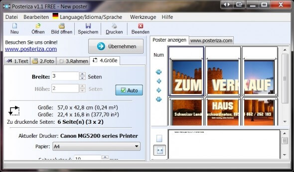 Freeware Software Posteriza Poster-Druck