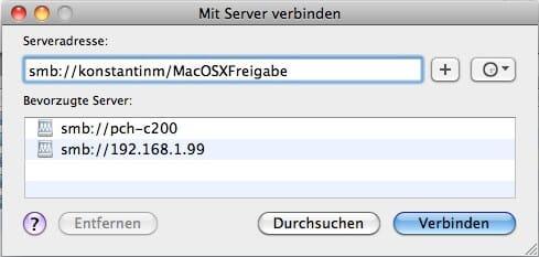 MacOSX auf Windows 7 Ordner zugreifen