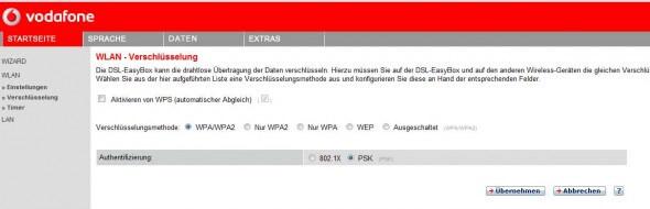 Easybox: WPS deaktivieren