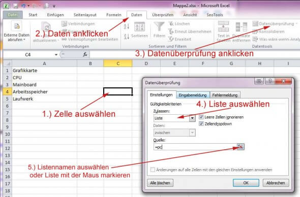 Dropdown in Excel erstellen