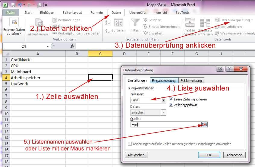 Dropdown Excel: Auswahlliste in Excel-Tabelle erstellen