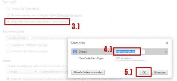 Google als Startseite in Chrome