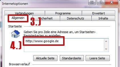 IE - Google als Startseite