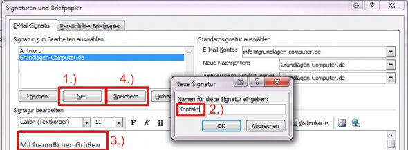 Signatur anlegen in Outlook 2010