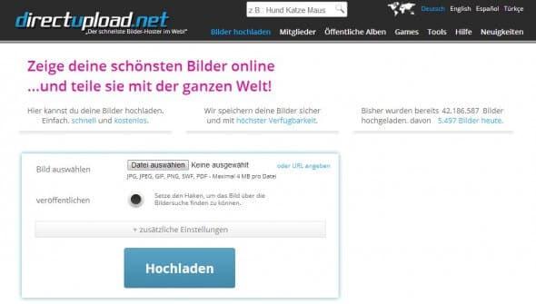 Directupload - Bilder hochladen