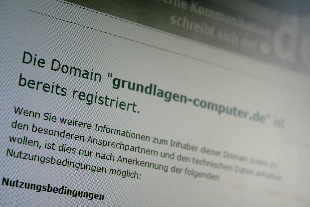 Domain bereits registriert