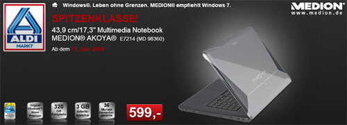 Aldi: Medion MD 98360 E7214 17,3″ Notebook ab 17.06.2010