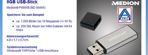 Aldi: 8 GB USB-Stick – Medion P89058 (MD 86666)