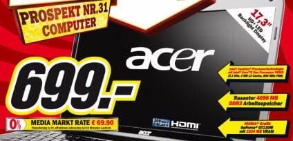 Media Markt: Acer Aspire 7738G-654G50MN Notebook für 699 EUR
