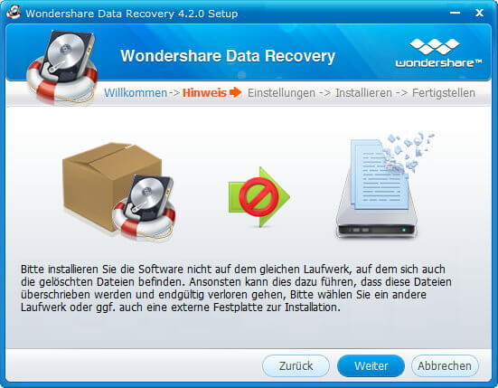 Data Recovery Installationswarnung