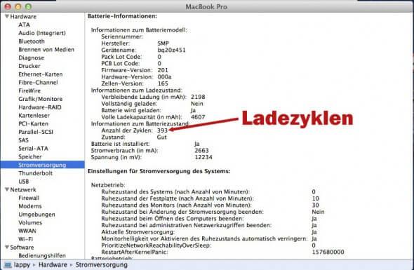 Ladezyklen ermitteln beim Macbook Pro