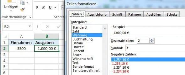 Excel: Währung-Format