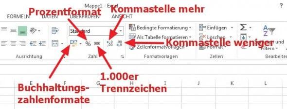 Symbolleiste für Zahlenformat in Excel