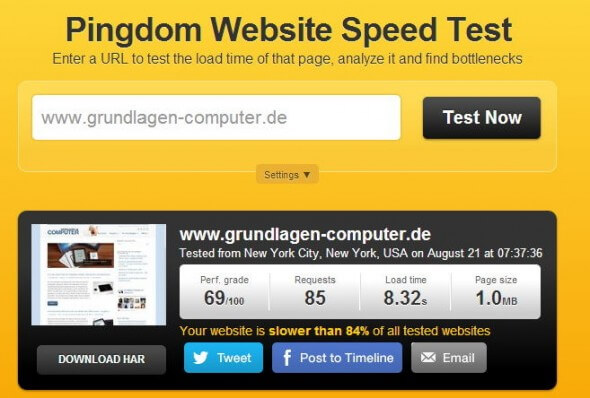 Website Speed Test von Pingdom.com