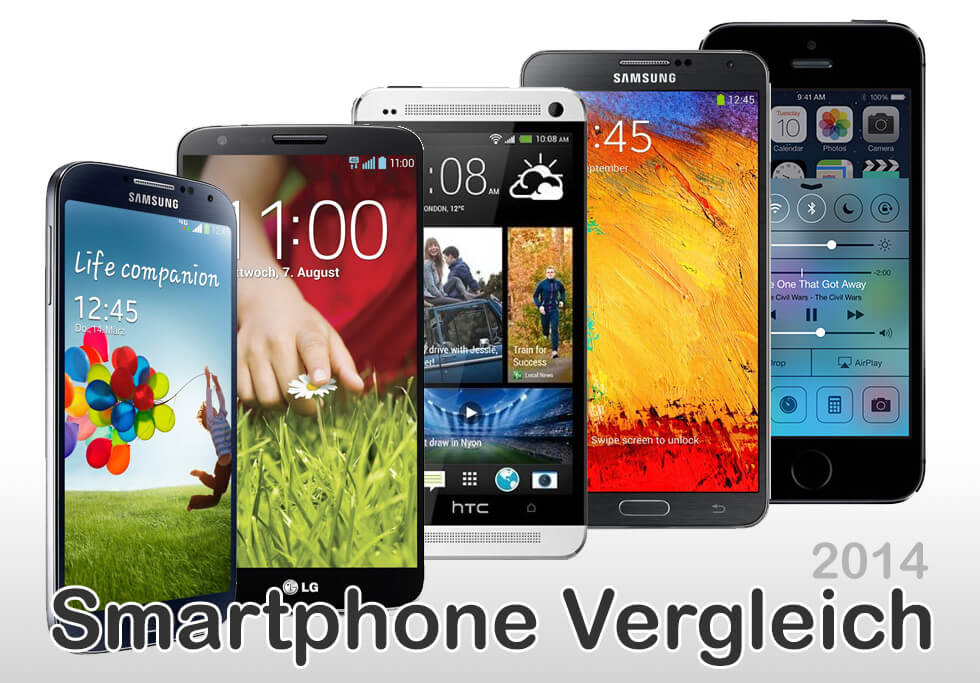 Highend Smartphones im Vergleich (2014): HTC One, LG G2, Galaxy Note 3, Samsung Galaxy S4 und iPhone 5S