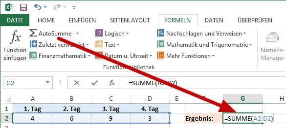Excel Autosumme