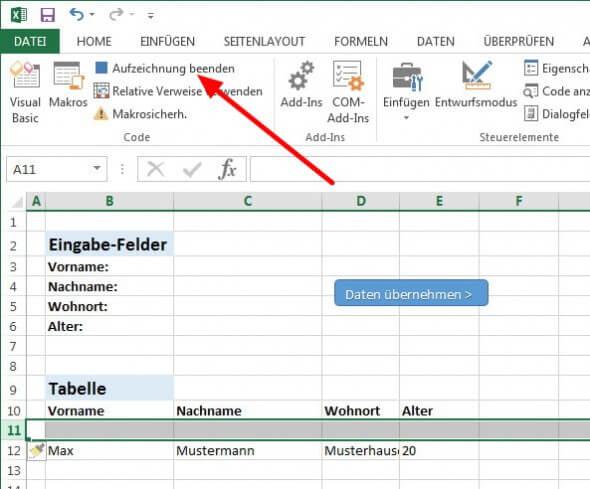 Excel Makro-Aufzeichnung beenden