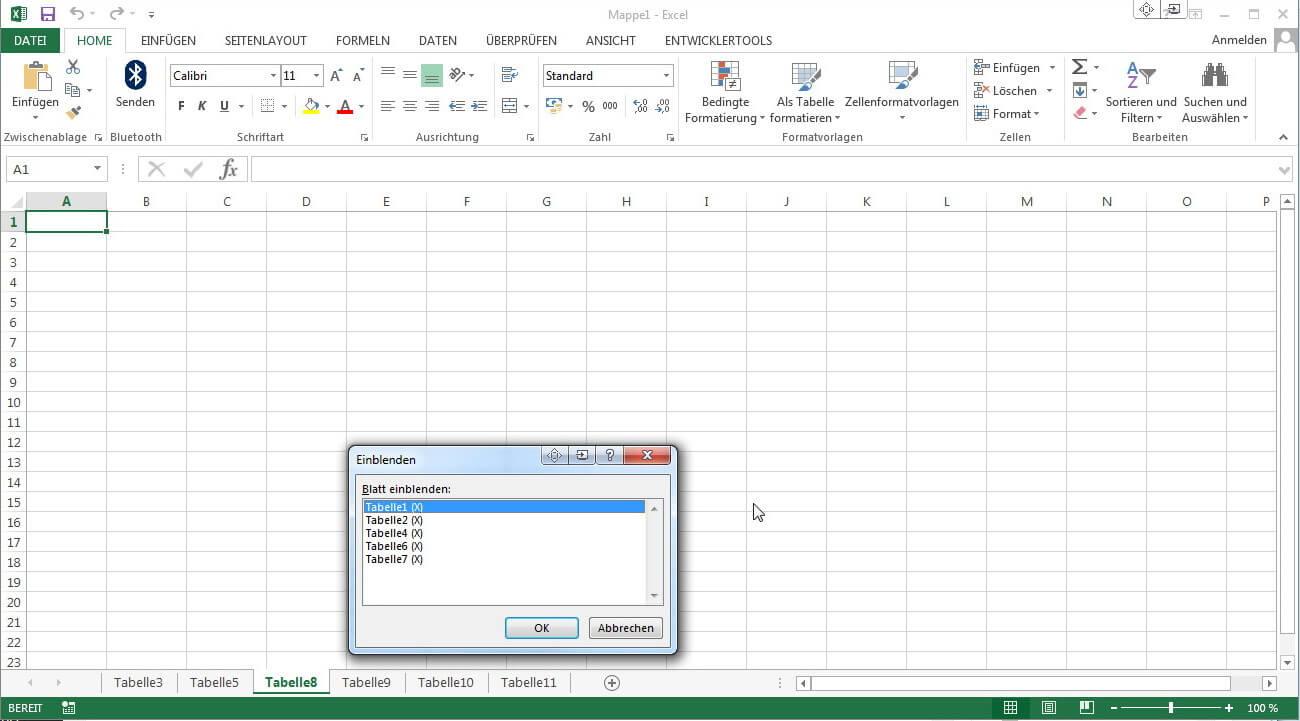 Tabellenblatt Excel Englisch : Tabellenblätter in excel einblenden ausblenden