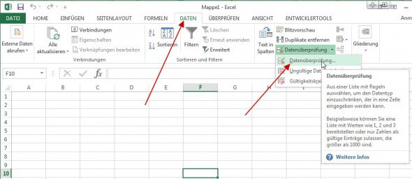 Datenüberpruefung: Excel-Dropdownliste