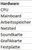 Hardware Tabelle für Dropdownliste