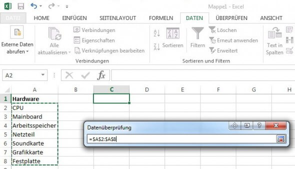 Quelle für Dropdown in Excel