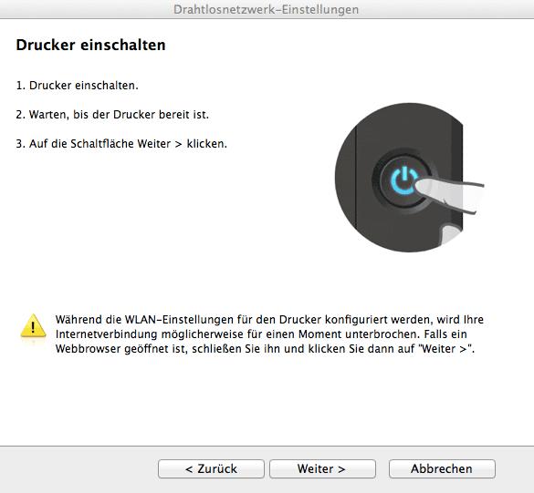 Drucker einschalten