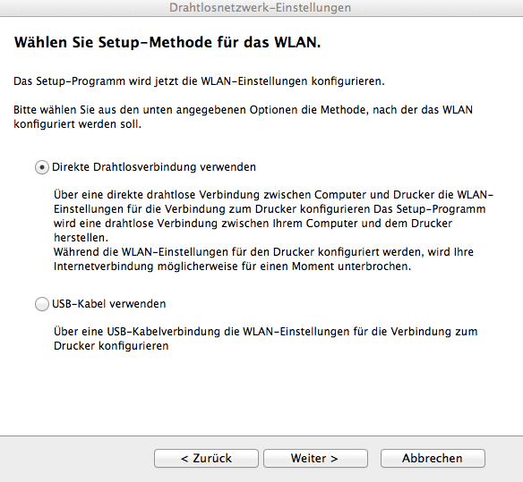 Setup-Methode WLAN