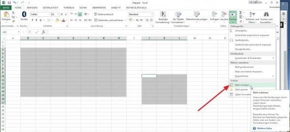 Blatt schützen in Excel