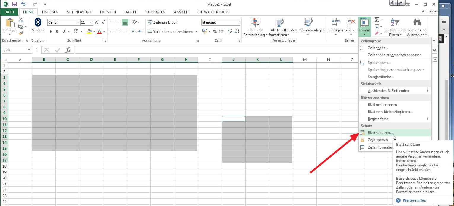 Excel Zellen schützen - Blattschutz aktivieren - so geht\'s