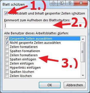 Blatt-Schutz Optionen in Excel