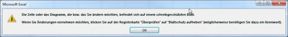 schreibgeschütztes Blatt: Excel Fehlermeldung