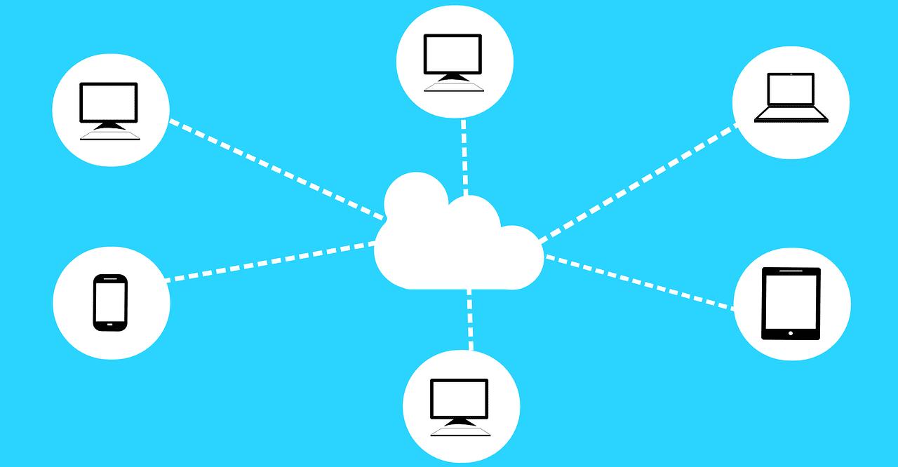 Abb. 1: Das Cloud-Computing ermöglicht den Zugriff verschiedener Endgeräte auf einen digitalen Datensatz.